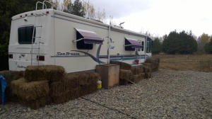 Fortifying the RV with hay bales