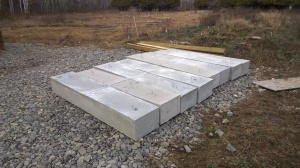 Eight 1350lb concrete blocks