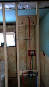 Shower rough-in complete and pressure tested.