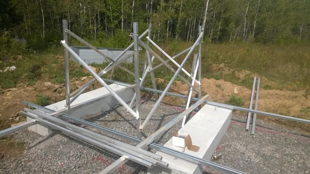 Partly assembled solar rack